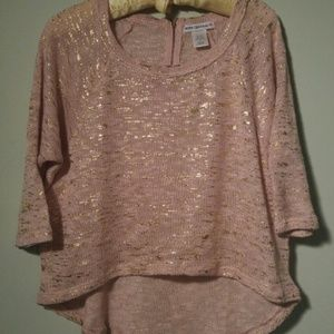 3/4 sleeve hi low pink and gold sweater